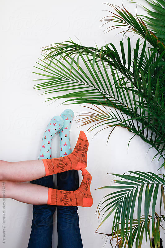 women posing with feet on wall by palm tree by Treasures & Travels for Stocksy United