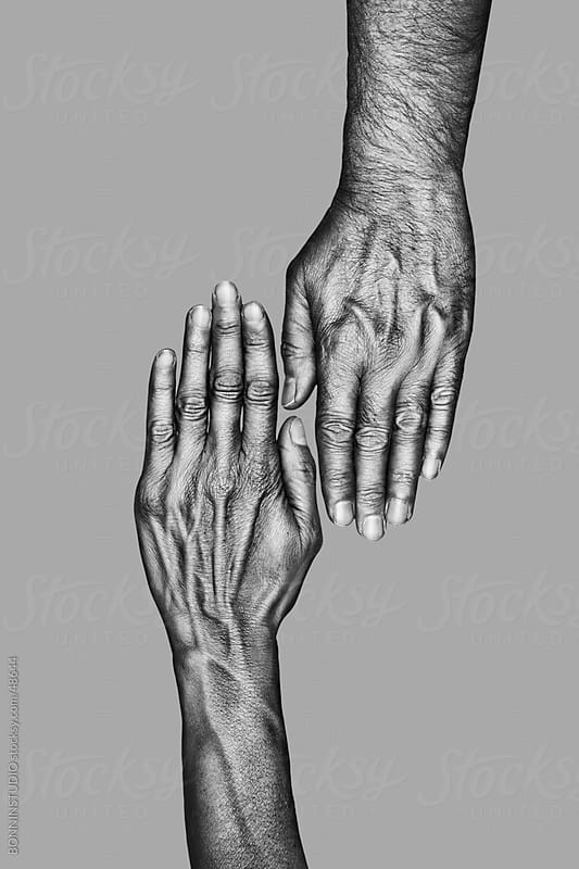 Hands of a old man and woman. Black and white by BONNINSTUDIO for Stocksy United