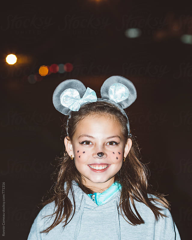 Preteen Girl Dressed As Mouse For Halloween by Ronnie Comeau for Stocksy United