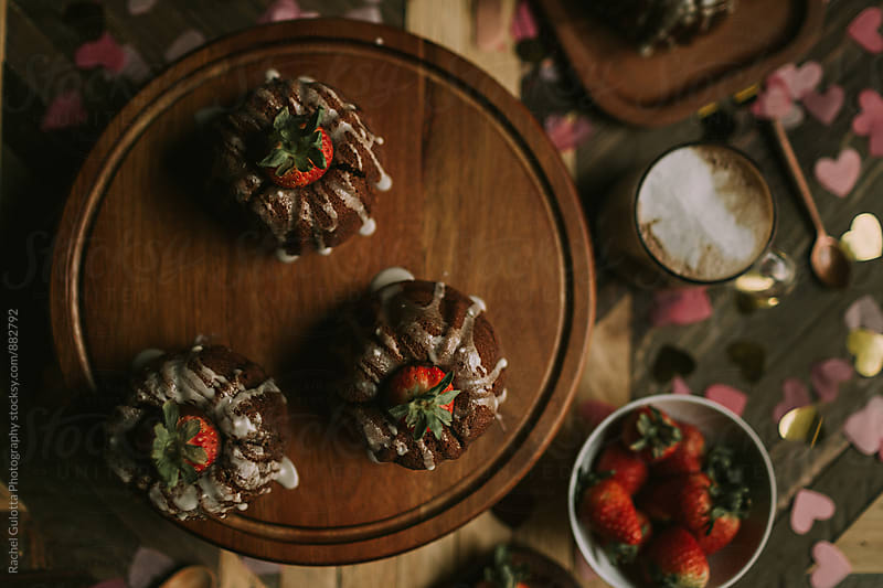 Valentine's Day Bundt Cake Desert by Rachel Gulotta Photography for Stocksy United