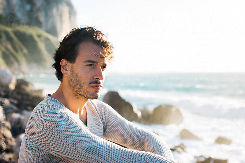 Late Afternoon Outdoor Beach Portrait of Handsome Italian Man with Moustache by Julien L. Balmer for Stocksy United