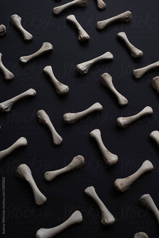 Bones arranged on black background. by Audrey Shtecinjo for Stocksy United