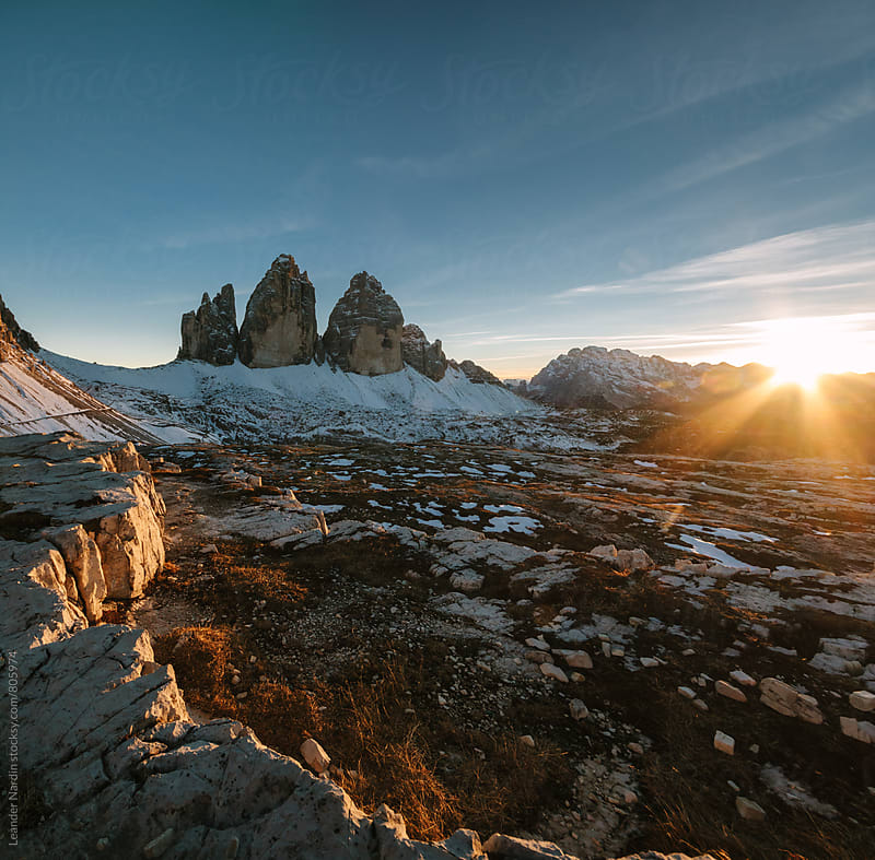 panorama shot of the famous three pinnacles at sunset  by Leander Nardin for Stocksy United