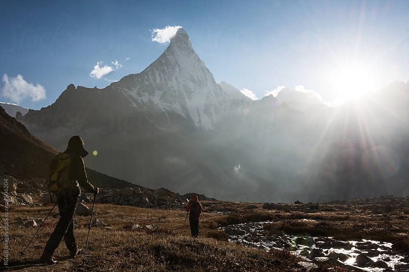 hikers in the mountain by RG&B Images for Stocksy United