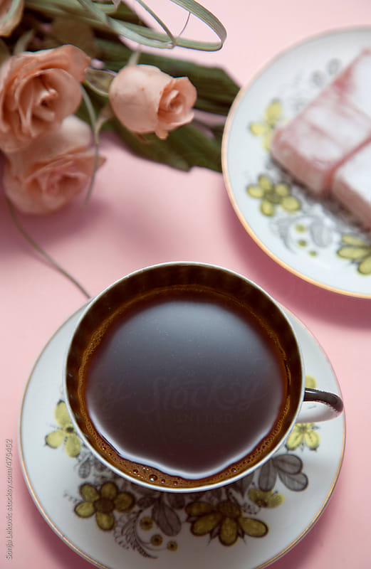 coffee and roses on pink background by Sonja Lekovic for Stocksy United