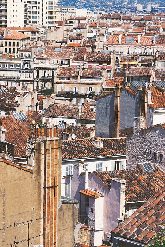 Rooftops of houses in Marseilles, in the south of France by Jovo Jovanovic for Stocksy United