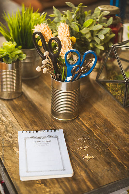 notepad on table by Sam Hurd Photography for Stocksy United
