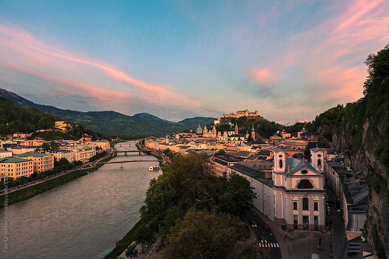 Salzburg (Austria) and the River Salzach at Dusk by Tom Uhlenberg for Stocksy United