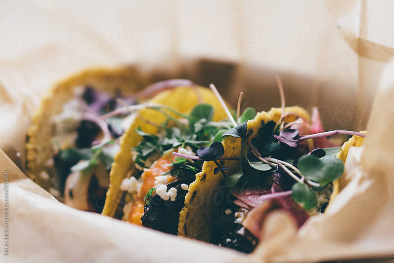 Vegetarian tacos closeup by James Jackson for Stocksy United