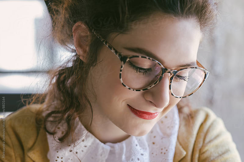Portrait of a Beautiful Young Woman Wearing Glasses by Aleksandra Jankovic for Stocksy United