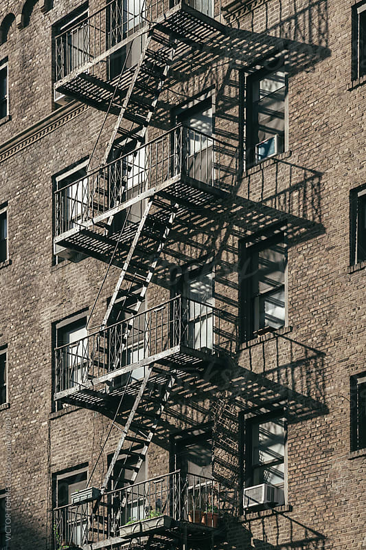 Exterior Stairs in a Classical Manhattan Building, new york by Victor Torres for Stocksy United