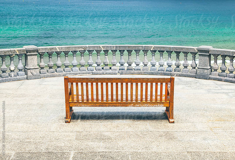 Wooden Bench with Sea Views by VICTOR TORRES for Stocksy United