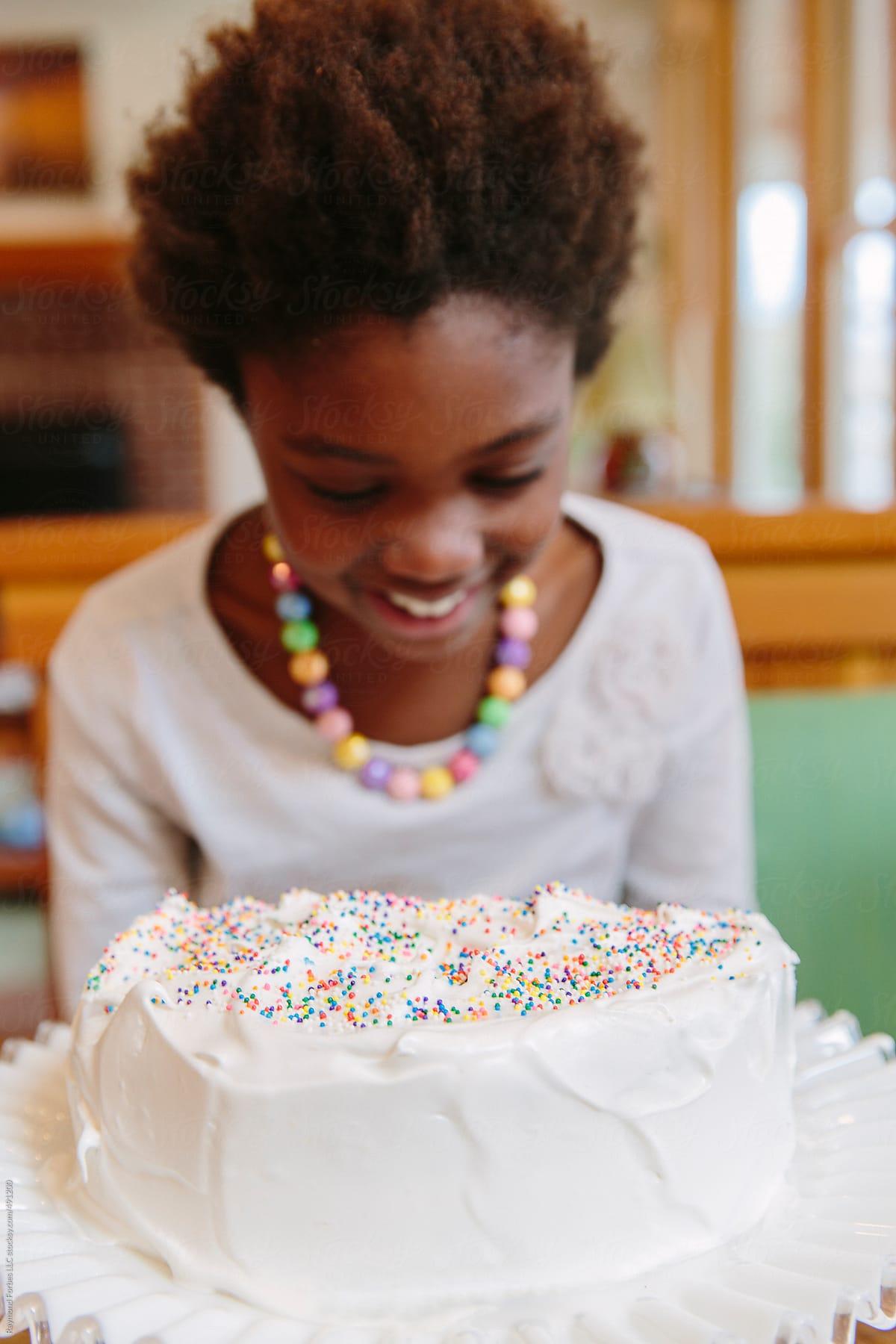 Fantastic African American Girl With Birthday Cake By Raymond Forbes Llc Funny Birthday Cards Online Elaedamsfinfo