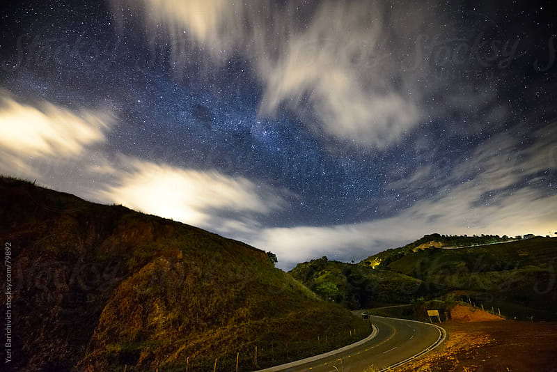 Night Sky on Brazilian Roads - Espirito Santo, Brazil. by Yuri Barichivich for Stocksy United