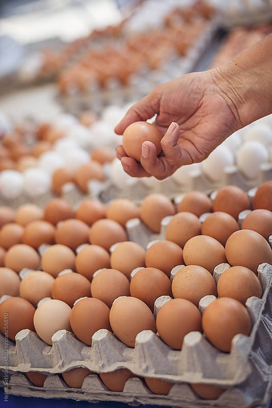 Fresh eggs at the local market by Helen Sotiriadis for Stocksy United