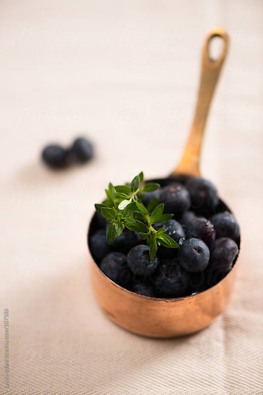 a small saucepan full of blueberries by Laura Adani for Stocksy United