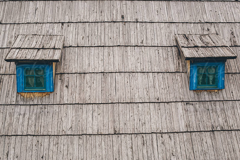 Blue painted windowsills on a roof  by Jovo Jovanovic for Stocksy United