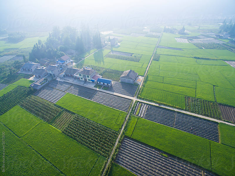 aerial view of small village in the morning by Bo Bo for Stocksy United