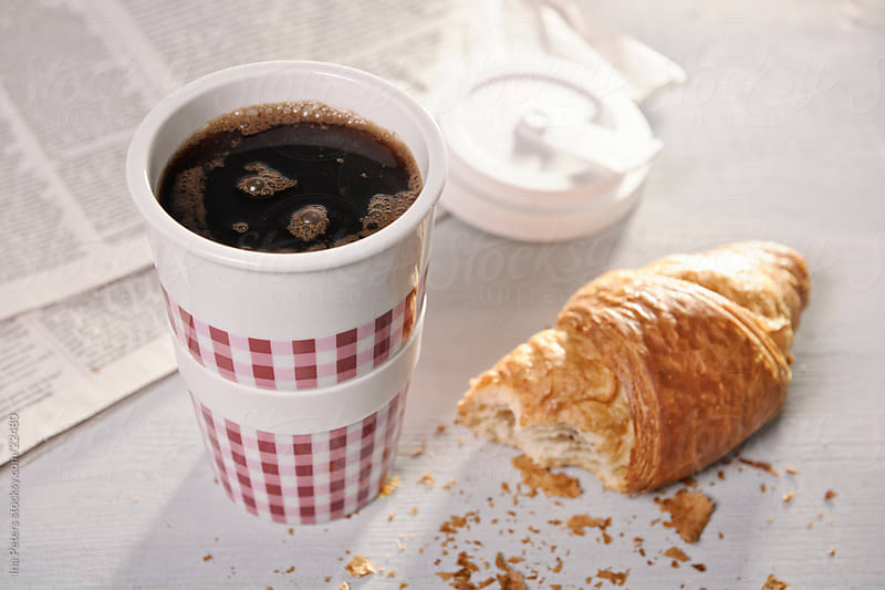 Coffee, Croissant and Newspaper by Ina Peters for Stocksy United