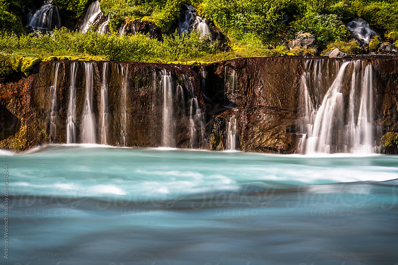 Idyllic Waterfall Scenery at Iceland's Hraunfossar by Andreas Wonisch for Stocksy United