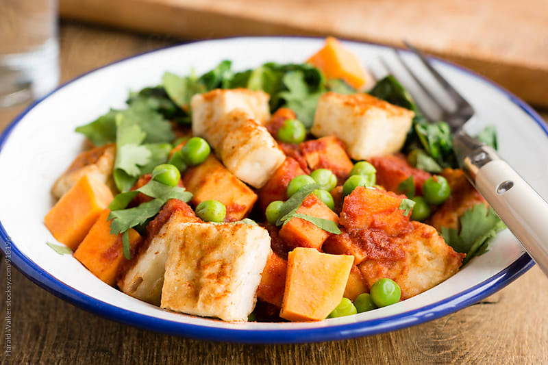 Tofu, Sweet Potato, Spinach Tandoori by Harald Walker for Stocksy United