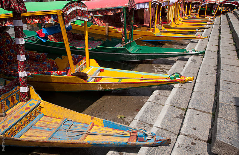 Colorful boats tied together beside Dal lake,Kashmir by PARTHA PAL for Stocksy United