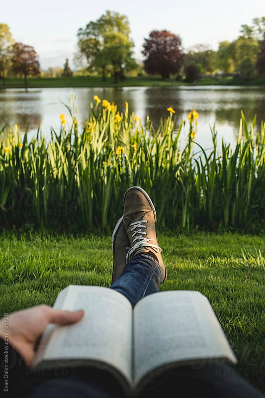 Reading By Lake Point of View by Evan Dalen for Stocksy United
