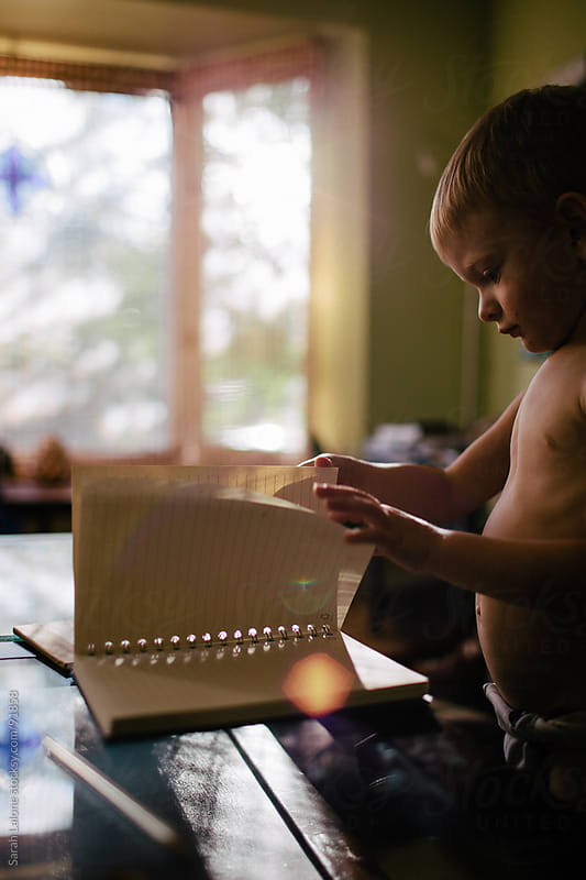 little boy drawing on a notebook with a pencil at home by Sarah Lalone for Stocksy United