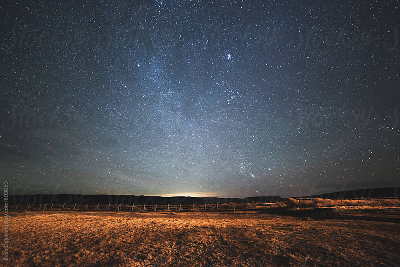 Starry Night Sky Over Field by Evan Dalen for Stocksy United