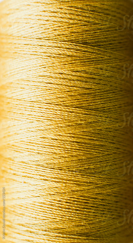 Close up spool of gold cotton thread by Kristin Duvall for Stocksy United