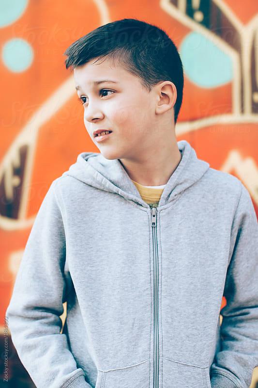 Boy portrait on Graffiti Wall by Zocky for Stocksy United