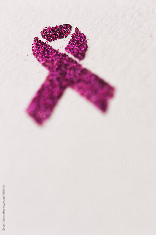 Pink: Glitter Ribbon On White Background With Copyspace by Sean Locke for Stocksy United