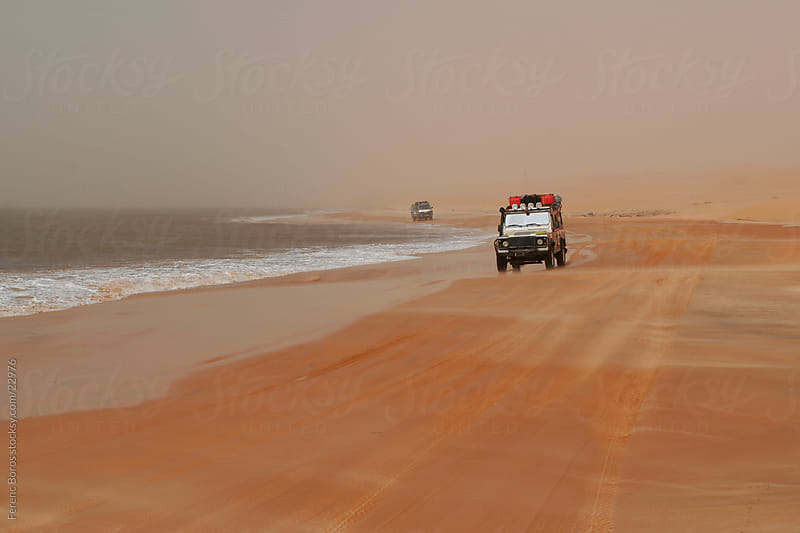 Cars between the desert and the ocean by Ferenc Boros for Stocksy United