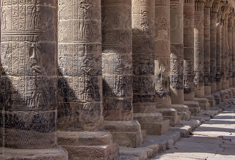 A row of columns from a temple in ancient Egypt. by Mike Marlowe for Stocksy United
