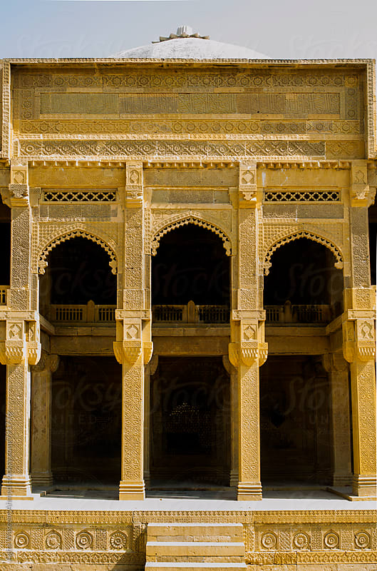 The tomb of Isa Khan Tarkhan II, built on a stone carved platform, Makli, Sindh, Pakistan by Agha Waseem Ahmed for Stocksy United