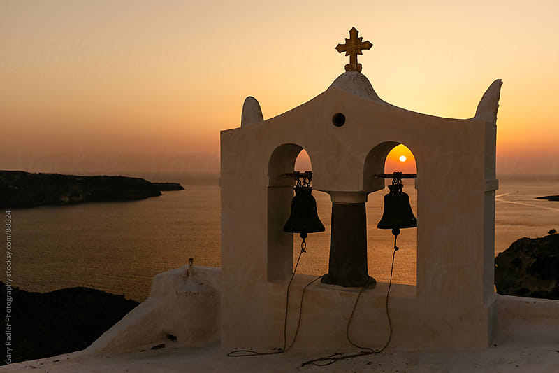 Bells at Sunset on Santorini, Greece by Gary Radler Photography for Stocksy United