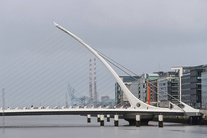 Rainy Day in Dublin, Ireland - City Skyline with Samuel Beckett Bridge by Tom Uhlenberg for Stocksy United