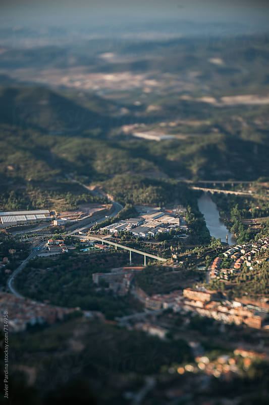 Aerial view of a little town by Javier Pardina for Stocksy United