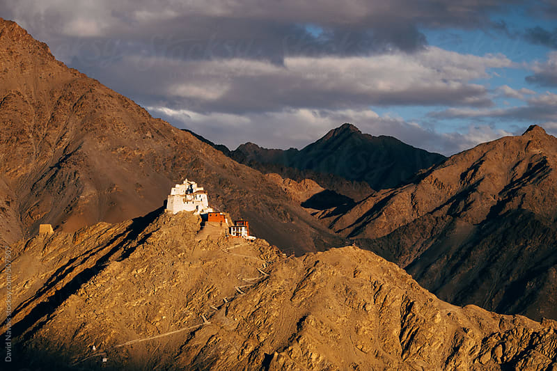 Namgyal Tsemo Gompa sunset by David Navais for Stocksy United