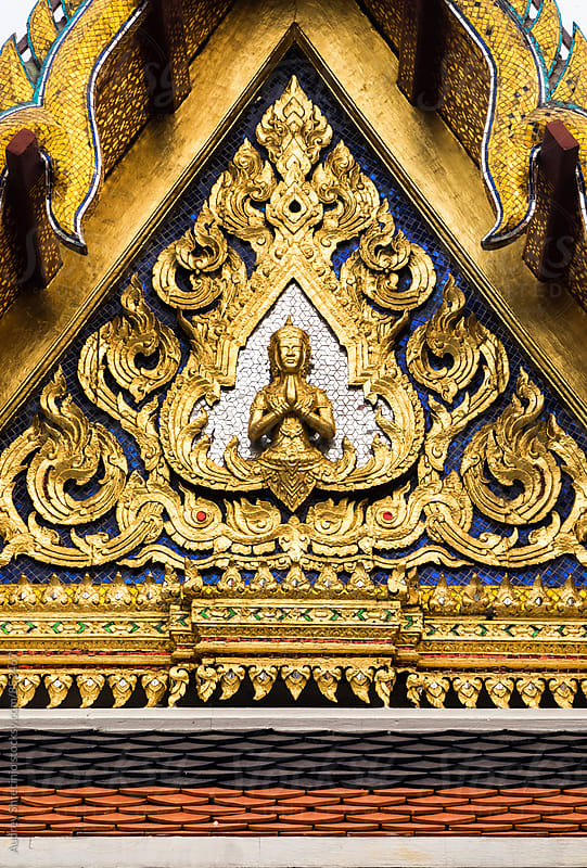Detail on the entrance of Golden Palace complex.Bangkok/Thailand by Audrey Shtecinjo for Stocksy United