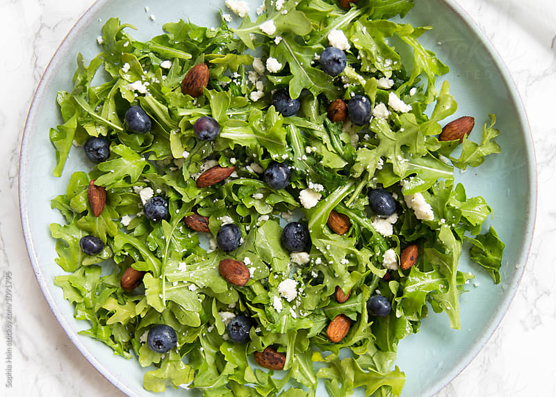 Blueberry Arugula Sala on blue plate by Sophia Hsin for Stocksy United