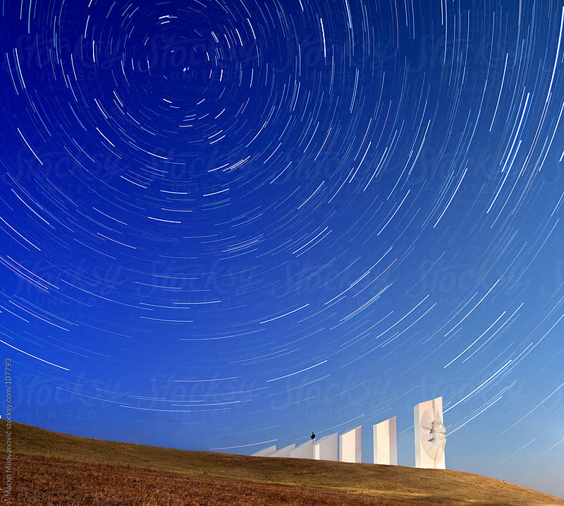 Stars rotaion above monument, north star long exposure by Marko Milovanović for Stocksy United