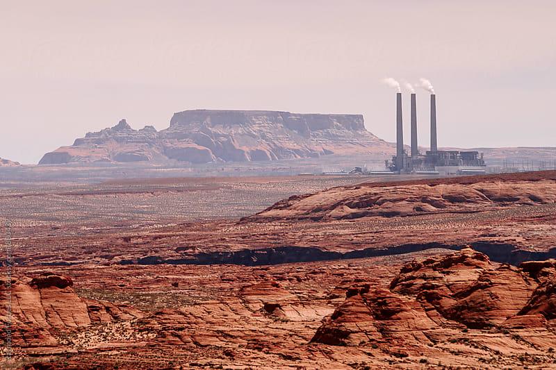 Coal Power Plant Desert by Raymond Forbes LLC for Stocksy United