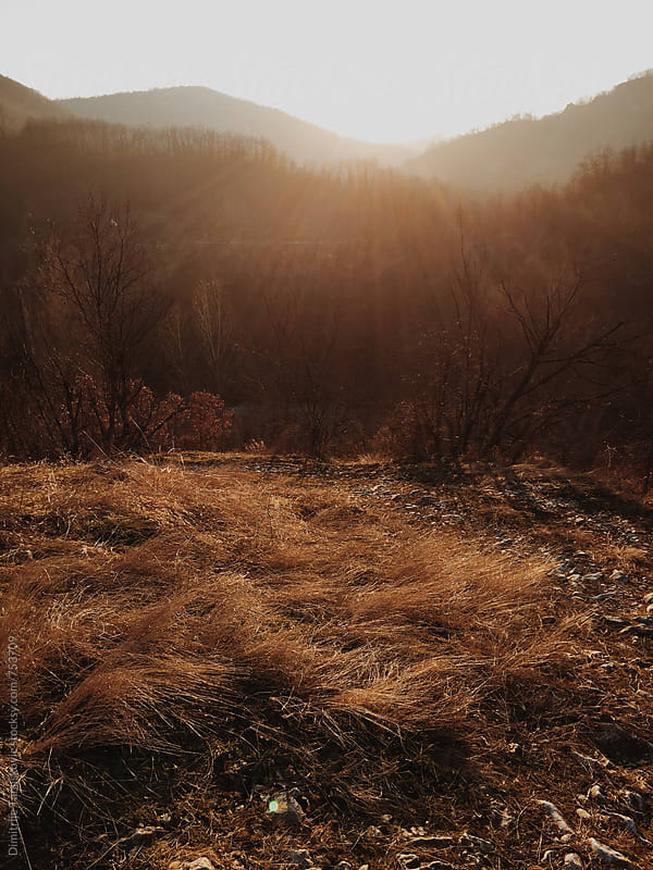 Autumn sunset above the hills and field by Dimitrije Tanaskovic for Stocksy United