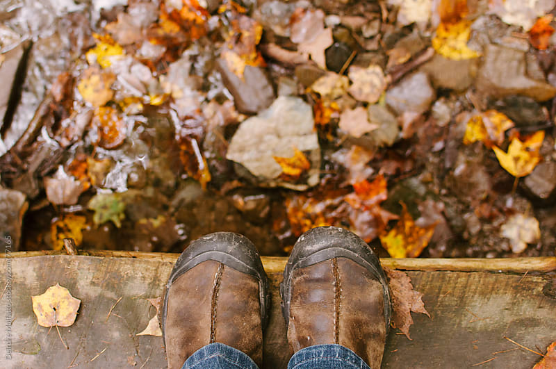 feet on bridge with stream and fallen maple leaves in autumn by Deirdre Malfatto for Stocksy United