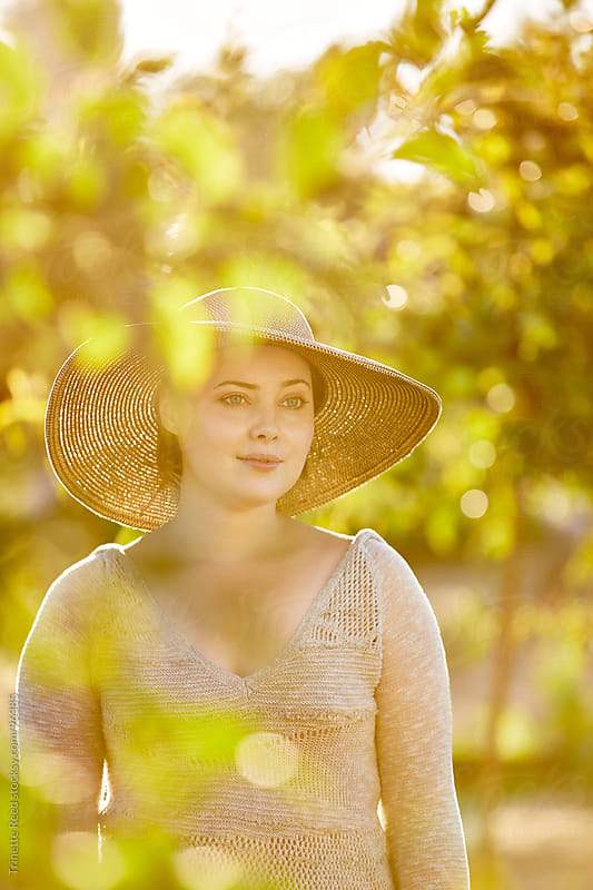 Portrait of woman at organic farm in california by Trinette Reed for Stocksy United