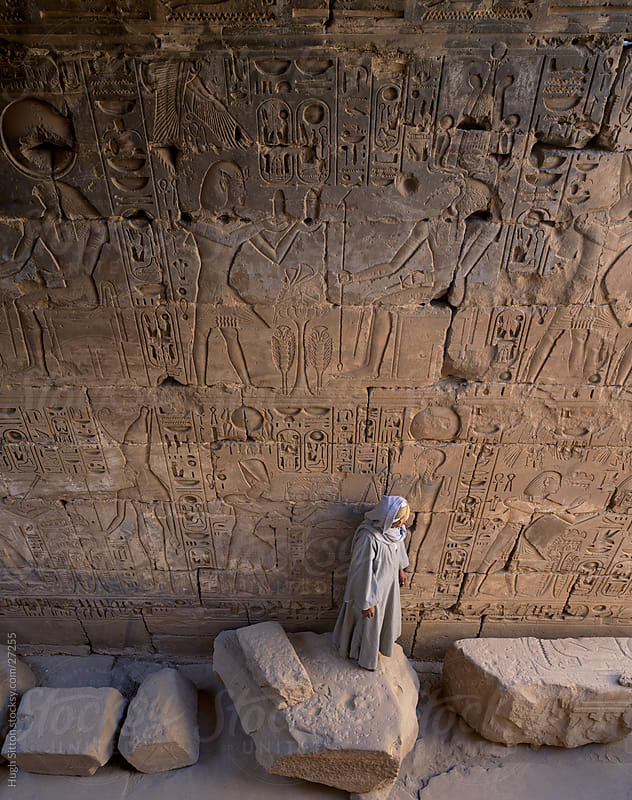 hieroglyphs on wall. Temple of Karnak. Egypt by Hugh Sitton for Stocksy United