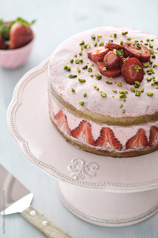 Strawberry Yogurt Cream Cake by Ina Peters for Stocksy United