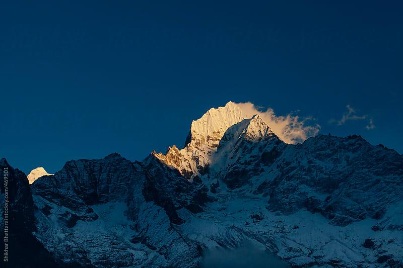 Sunset on Mt. Thamserku, Everest Region, Nepal. by Shikhar Bhattarai for Stocksy United