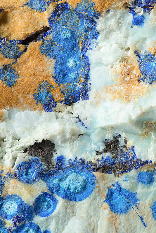 Azurite mineral, closeup by Mark Windom for Stocksy United